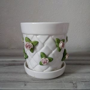 Ceramic Woven Pot with Sculptured Roses for Sale in Salt Lake City, UT