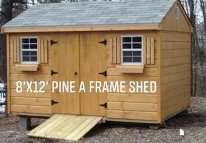 New 8' x 12' Pine A Frame Shed for Sale in Lakeville, MA