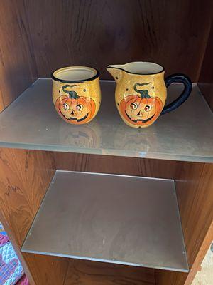 Halloween Fall Ceramic Pumpkin Creamer and Sugar Bowl Set for Sale in Suffolk, VA