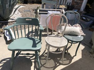 Vintage chairs, 2 barrel chairs, 2 cane chairs, $29 each for Sale in San Marcos, CA
