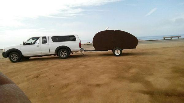 Handmade wooden teardrop trailer