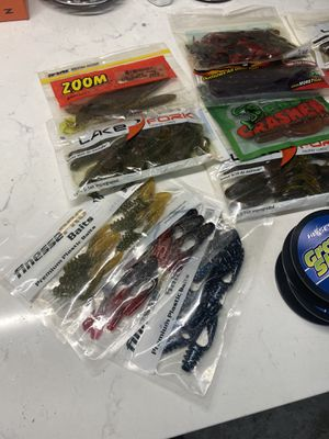 Fishing line and plastic baits for Sale in Grand Prairie, TX