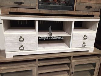 Tv Stand with Fireplace Option, Whitewash, SKU# ASHW267-68TC for Sale in Santa Fe Springs,  CA