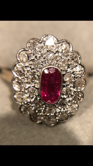 Platinum setting with 14k band ruby and old english cut diamond ring for Sale in North Potomac, MD
