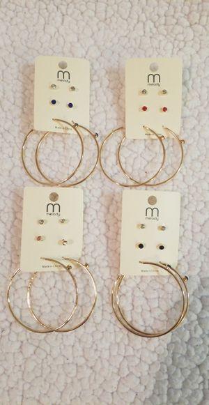 Earing set of 2 pairs stud diamond earings and hoop earings with a diamond for Sale in Perris, CA