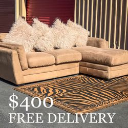 2 Piece Suede Sectional Couch w/ Chaise & Pillows for Sale in Las Vegas,  NV