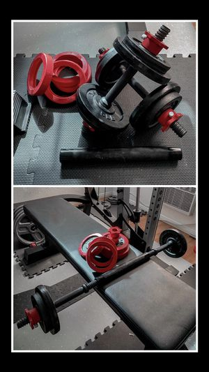 Brand new in box adjustable all solid steel 40 lb ldumbbells with bar barbell connector (not negotiable) for Sale in Chula Vista, CA