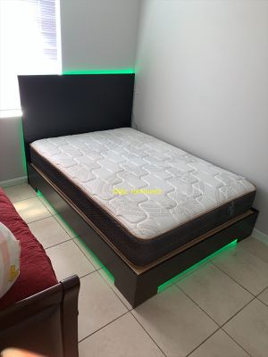 New bed frame and mattress with led light FREE DELIVERY . Queen size 450. Full size 430 twin size 400 for Sale in Hollywood, FL