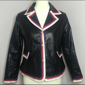 Women's Faux leather web trim blazer for Sale in Bethesda, MD