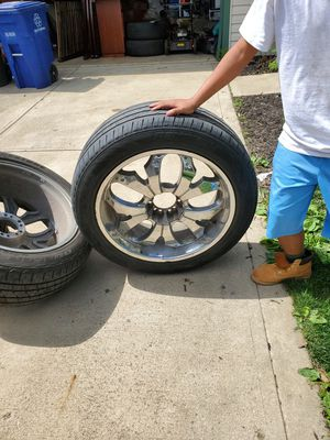 24 inch chrome rims and tires for Sale in Blacklick, OH