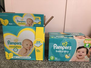 Pampers Diapers - Size 1 & 2 for Sale in Santee, CA
