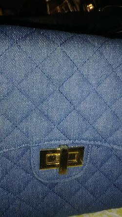 Blue jean bag with a heavy gold change $20 for Sale in Washington,  DC