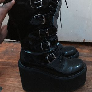 Rarely worn Black PVC Platform Combat demonias Boots for Sale in Nashville, TN