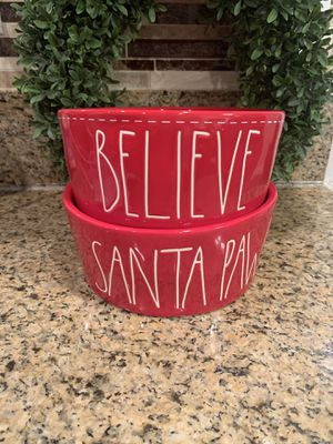 Rae Dunn Believe & Santa Paws Dog Bowls for Sale in La Puente, CA
