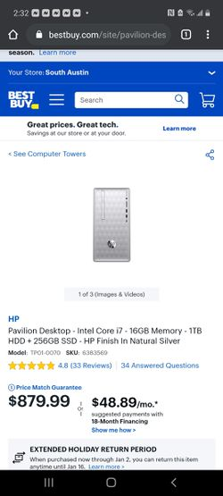 Barely used hp Pavillion desktop with mouse & keyboard great condition for Sale in Austin,  TX