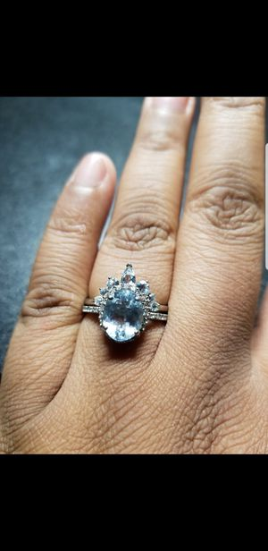 Aquamarine and diamond wedding Ring for Sale in Upland, CA