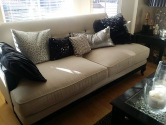 Beautiful Cream And Black Loveseat With Black Rhinestone Pillow Back for Sale in Las Vegas,  NV