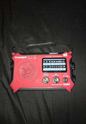 Kaito KA500 Voyager 5-way Powered Emergency AM/FM/SW NOAA Weather Alert Radio with Solar Dynamo Crank Flashlight and Reading Lamp - Red for Sale in Morgan Hill, CA