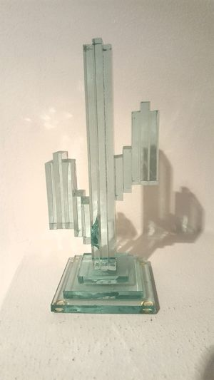 Vintage Mint Green, Aqua, Turquoise Glass Cactus Home Decor Statue Sculpture Collectible for Sale in Berwyn, IL