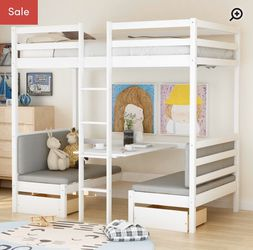 Platform bunk desk bed - new in the box for Sale in Dunlap,  IL