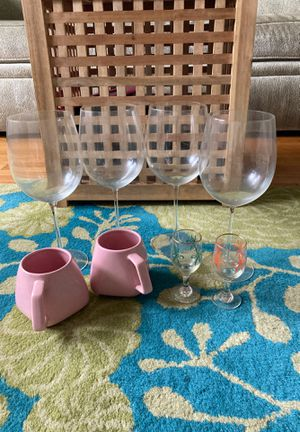 Wine Glasses, Vintage Shot Glasses and Cute Pink Mugs for Sale in Chevy Chase, MD