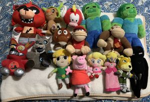 9 Nintendo, 4 Five Nights at Freddy's, 3 MineCraft and 1 Peppa Pig Plushies for Sale in Woodstock, GA