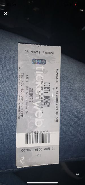 2 tickets for Dirty Honey for Sale in Fresno, CA