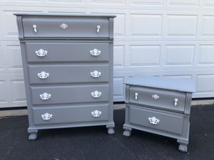 Solid Wood 5 Drawer Tallboy Dresser With Nightstand Gray With White Handles for Sale in Woodbridge, VA