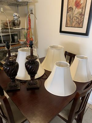 2 brown table lamps with 2 sets of shades for Sale in Turlock, CA