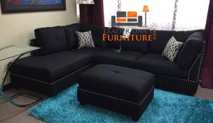 Brand New Black Linen Sectional Sofa Couch + Ottoman for Sale in Fairfax, VA
