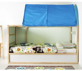 Reversible Kids Bed in White and Pine with Blue Bed Tent/Canopy, IKEA Kurt for Sale in Westminster,  CO