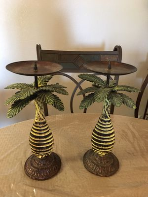 Set of 2 beautiful palm tree candle holder for Sale in Riverside, CA