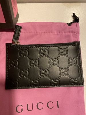 Gucci black guccissima leather coin card holder wallet for Sale in Queens, NY