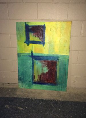 Abstract art, one original oil on canvass (pastels), one print w glass. for Sale in Austin, TX