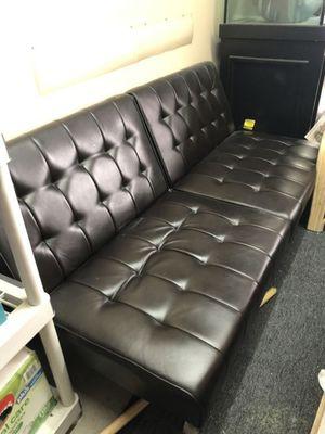 Dark Brown leather futon for Sale in Albuquerque, NM