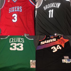NBA large jerseys. Bird. Iverson. Barkley. Irving. In stock. St. Paul / Woodbury pickups. for Sale in Maplewood, MN