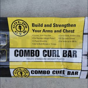 $25 Golds gym combo curl bar SPIN LOCK COLLARS NOT INCLUDED for Sale in Highland, CA