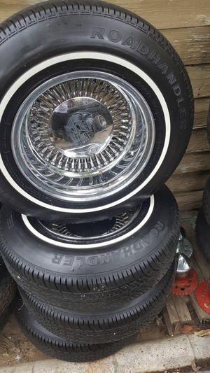 13 in spoke wheels 4 lug Universal brand new tires for Sale in Clovis, CA
