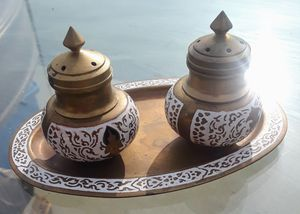VINTAGE Thai Brass and enamel •salt and pepper set for Sale in Milpitas, CA
