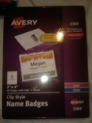 """New Avery #5384 Clip Style Name Badges 40 Badges with clilps 3""""x4"""" $60 for Sale in Fresno, CA"""