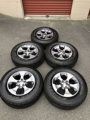 """Like New 18"""" Jeep Wheels and Tires Set of 5 for Sale in Mukilteo, WA"""