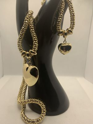 YELLOW GOLD HEART BRACELET AND NECKLACE for Sale in Louisville, KY