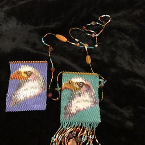Eagle beaded bags, the one on the right is finished, the other one on the left is in the process of being done. Please ask questions. Asking 100 for for Sale in Eugene, OR