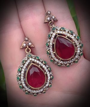 PIGEON BLOOD RED RUBY EMERALD EARRINGS Solid 925 Sterling Silver/Gold WOW! Brilliant Facet Pear/Round Gemstones, Diamond Topaz M3717 for Sale in San Diego, CA