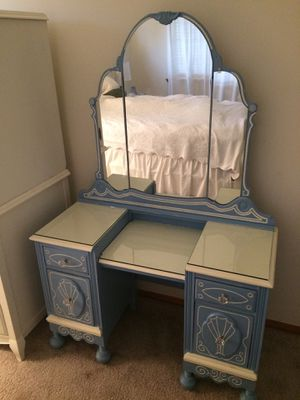Custom Vintage Vanity with Mirror and Built-In Jewelry Storage for Sale in Ruston, WA