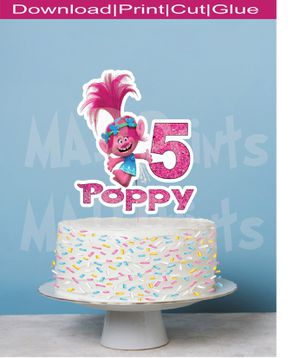 Printable Poppy Cake Topper for Sale in Oakland Park, FL