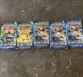 Pokemon XY Evolutions Sealed Booster Packs ( 5 PACKS ) for Sale in Miami,  FL