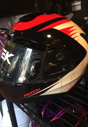 New red white and blue dot fiberglass motorcycle helmet $120 for Sale in Santa Fe Springs, CA