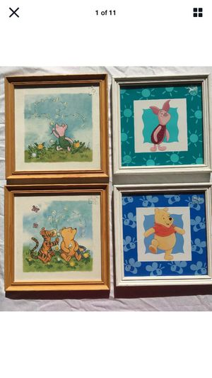 4 DISNEY WINNIE THE POOH PIGLET TIGGER CLASSIC POOH FRAMED ART for Sale in Escondido, CA