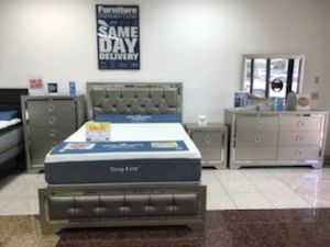 New Jasmine Queen Bed, dresser, mirror and nightstand ONLY $799. King $899. NO CREDIT CHECK FINANCING for Sale in Tampa, FL